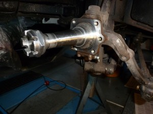 Near side stub axle in preparation for brake hub assembly